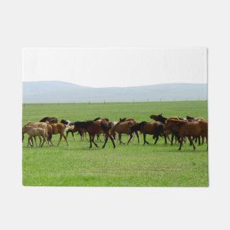 Horses on Pasture - Landscape Photograph Doormat