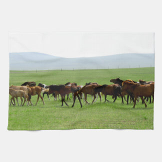 Horses on Pasture - Landscape Photograph Hand Towels