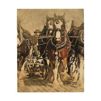 Horses on the field wood art panel