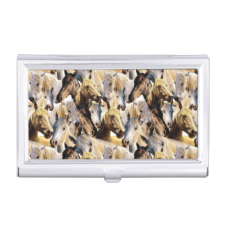 Horses pattern business card holder