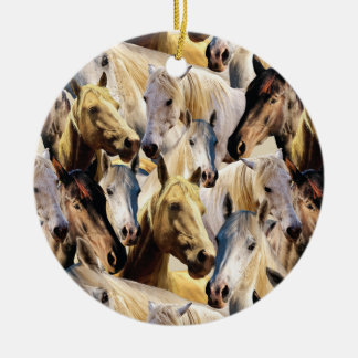 Horses pattern ceramic ornament