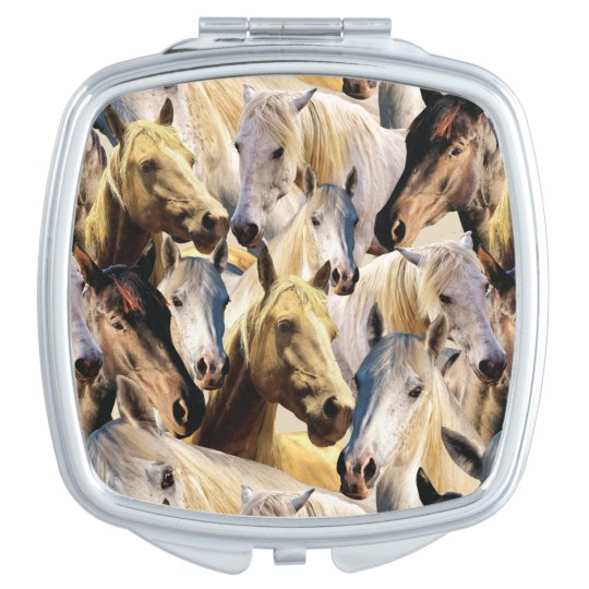 Horses pattern compact mirror