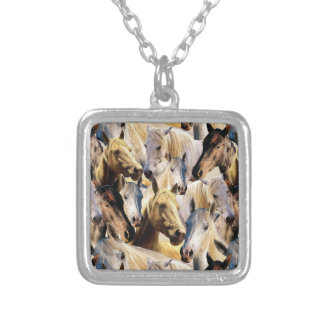 Horses pattern silver plated necklace