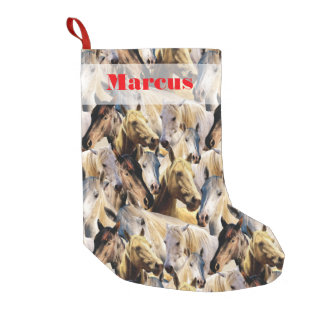 Horses pattern small christmas stocking