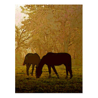 Horses Pop Art Postcard