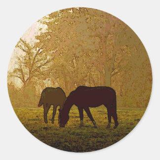 Horses Pop Art Round Sticker