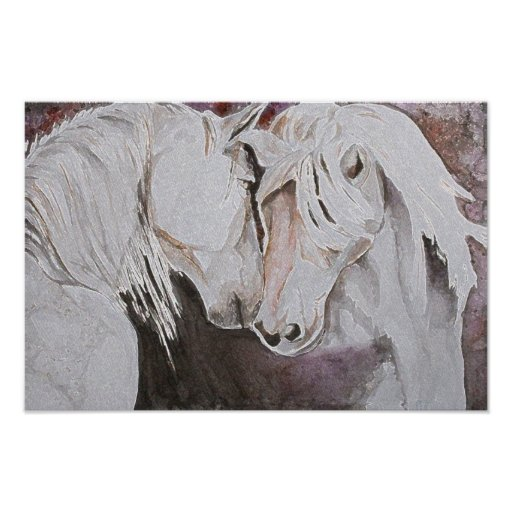 Horses Poster- Watercolor Style, Pink Peach Poster