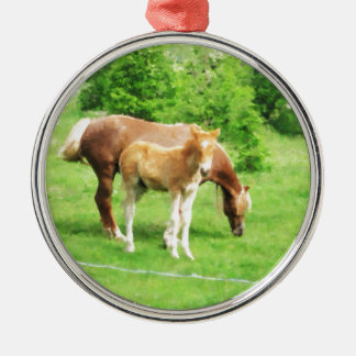 Horses relaxing in the field Silver-Colored round ornament