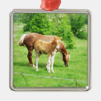 Horses relaxing in the field Silver-Colored square ornament