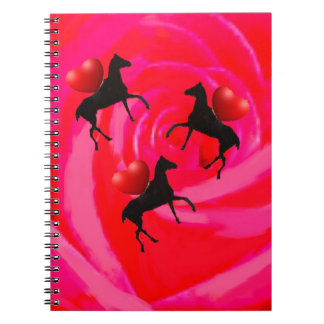 Horses ride on a red rose spiral note book