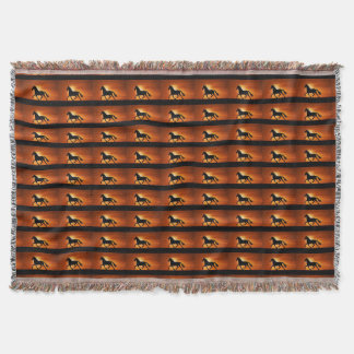 Horses Riding into the Sunset Afghan Throw Blanket