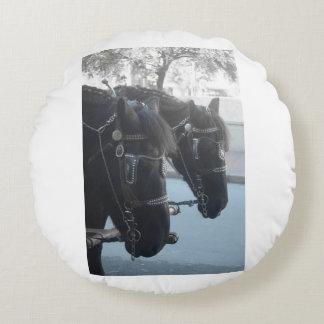 Horses Round Pillow