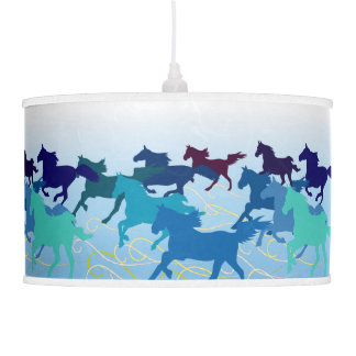 Horses run free blue pendant lamp