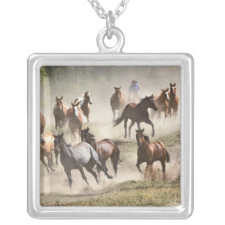 Horses running during roundup, Montana Silver Plated Necklace