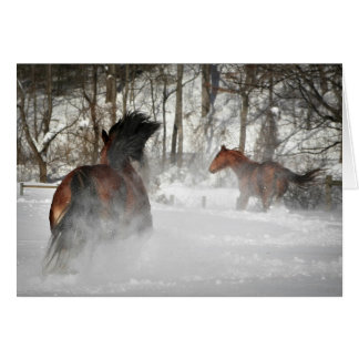 Horses Running in the Snow Customizable Card