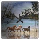 Horses running on the beach clock