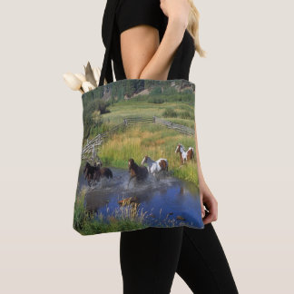Horses Running Through Water Print on  Tote Bag