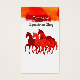 Horses Running Watercolor Horseback Artistic Color Business Card