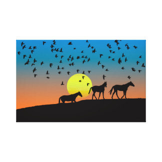 HORSES SILHOUETTES IN THE SUNSET, CUTE DRAWING CANVAS PRINT