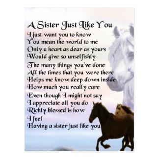 Horses  Sister Poem Postcard
