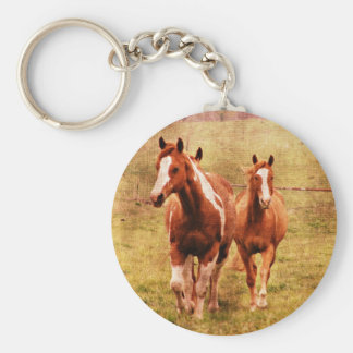 Horses Trotting Basic Round Button Keychain
