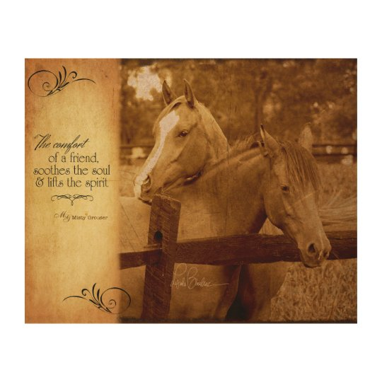 Horses Vintage Photo Friendship Sentiment Wood Wall Art