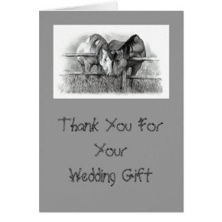 HORSES: WEDDING GIFT THANK YOU CARD