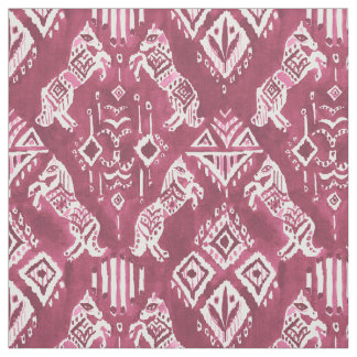 HORSES WHO KNEW Red Ikat Boho Tribal Pattern Fabric