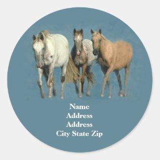 Horses Wild and Wonderful Address Label Round Sticker
