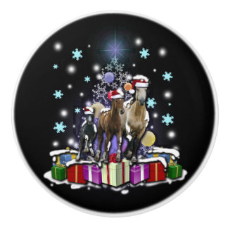 Horses with Christmas Styles Ceramic Knob
