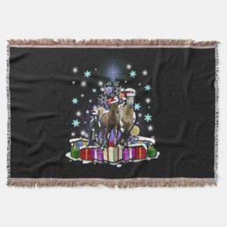 Horses with Christmas Styles Throw Blanket