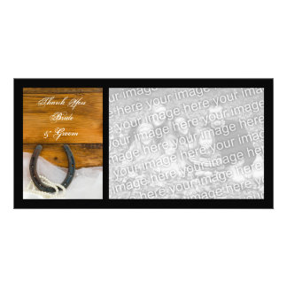 Horseshoe and Pearls Country Wedding Thank You Picture Card