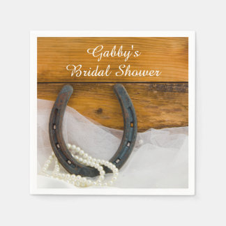 Horseshoe and Pearls Country Western Bridal Shower Disposable Napkins