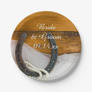 Horseshoe and Pearls Country Western Wedding 7 Inch Paper Plate