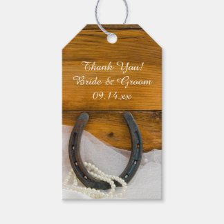 Horseshoe and Pearls Western Wedding Favor Tags
