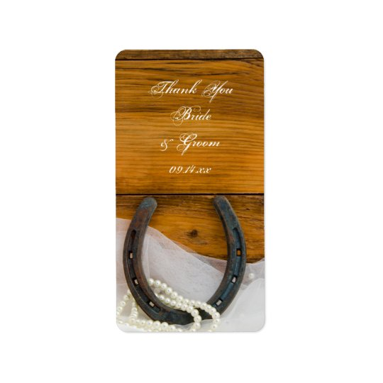 Horseshoe and Pearls Western Wedding Thank You Tag