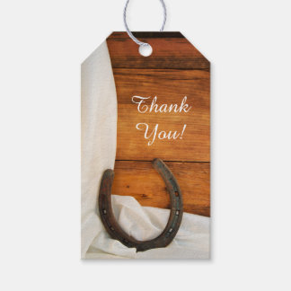 Horseshoe and Satin Country Barn Wedding Favor Tag