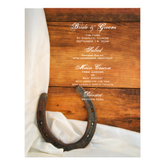 Horseshoe and Satin Country Wedding Menu Full Colour Flyer