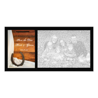 Horseshoe and Satin Country Wedding Save the Date Picture Card