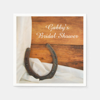 Horseshoe and Satin Country Western Bridal Shower Paper Napkin