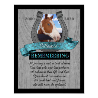 Horseshoe and Turquoise Pet Memorial Photo Poster