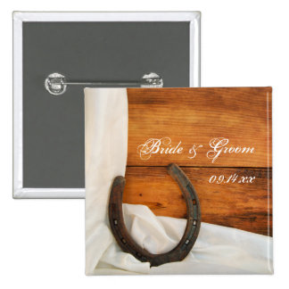 Horseshoe and White Satin Country Barn Wedding 2 Inch Square Button