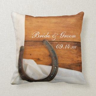 Horseshoe and White Satin Country Barn Wedding Throw Pillow
