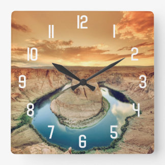 Horseshoe Bend Caynon Square Wall Clock