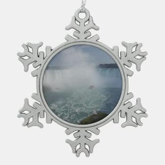 Horseshoe Falls in Niagara Falls Pewter Snowflake Ornament
