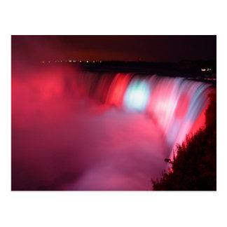 Horseshoe Falls Niagara Red Blue Lights Postcard