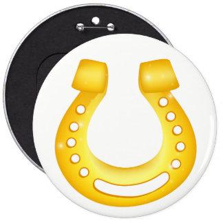 Horseshoe good luck 6 inch round button