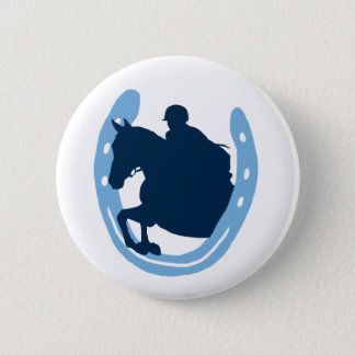 Horseshoe Jumping Horse Button