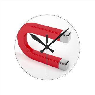 Horseshoe magnet round clock