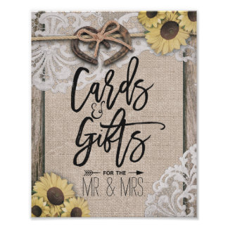 Horseshoe Sunflowers Burlap Lace Card Gift Wedding Poster